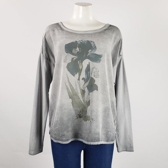 Grey Flower Print Long Sleeve Top Size L